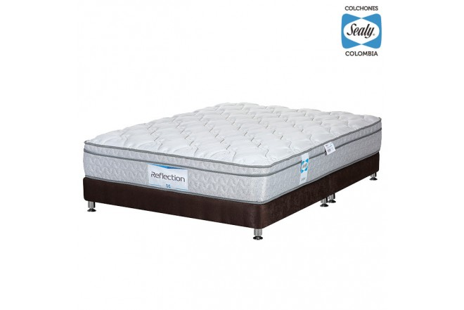 KOMBO SEALY: Colchón King Reflection Firm 200x200x28 cm + Base cama Nova Chocolate