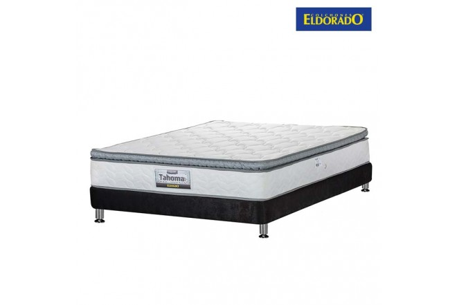 KOMBO ELDORADO:Colchón Extradoble Tahoma 160x190 cms Resortado + Base Cama Nova Negra