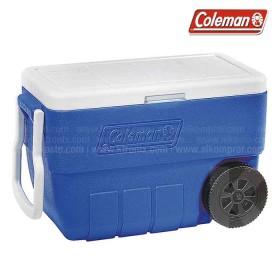 Hielera azul COLEMAN con ruedas de 64 latas