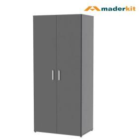 KOMBO: Armario MADERKIT Matrix 2 Puertas 00564-CL-N-R + Cómoda TV MADERKIT Matrix 3 Cajones 01032-CO-N-R