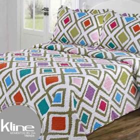 Cubrecama Doble K-LINE Rombos Multicolor estampado microfibra 100%