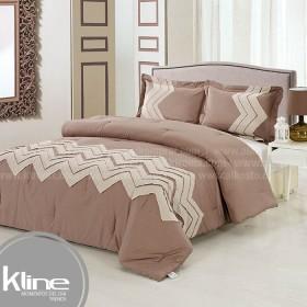 Conforter K-LINE Doble Bordado Kaki Lino Algodón