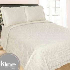 Cubrecama K-LINE Queen Crema Microfibra