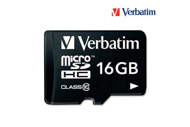 Memoria Micro SD VERBATIM + Adaptador 16GB Class10