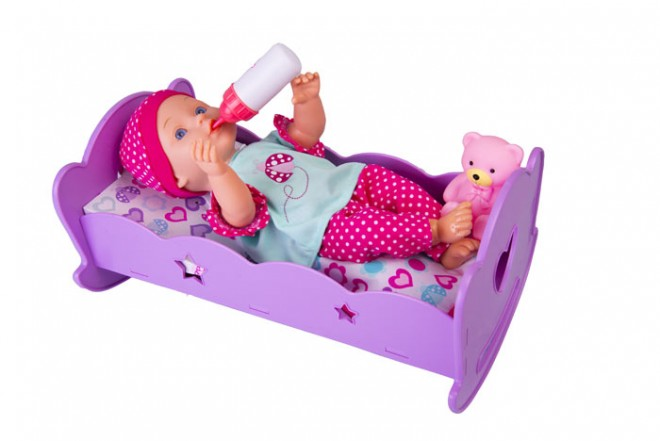 "Muñeca bebé hora de dormir con cuna Gigo Toys Dream Collection 14"" Rosada"
