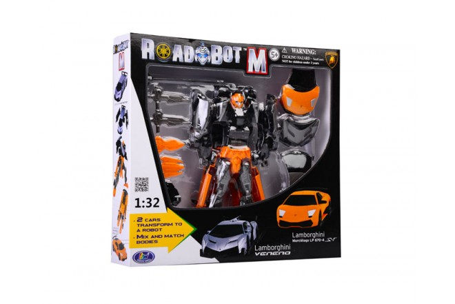 Robót doble Lamborghini transformer Roadbot Happy Well Naranja