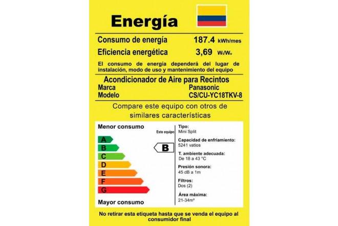 """Aire Acondicionado PANASONIC Convencional 18BTU Y18 220V""""B"""