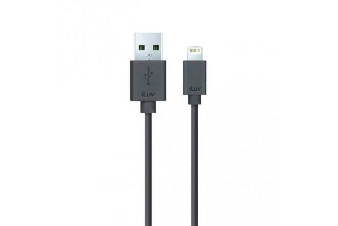 Cable ILUV USB/Lightning 1.2Mt Negro