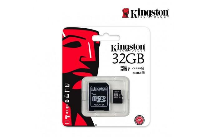 Memoria Micro SD KINGSTON 32GB + Adaptador Cl10
