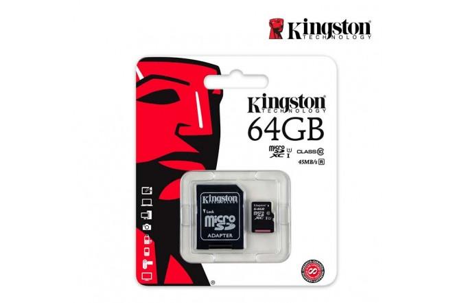 Memoria Micro SD KINGSTON 64GB + Adaptador Cl10