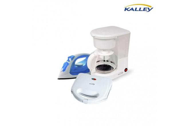 Kombo KALLEY Cafetera Eléctrica C100K +  Plancha de Ropa PL100A + Sanduchera San101