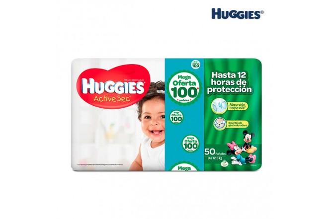 Pañal HUGGIES Active Sec Talla G 2 Caja x 50 unidades PRECIO ESPECIAL