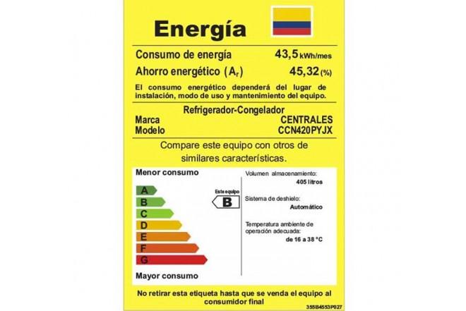 Nevera CENTRALES No Frost de 420Lts CCN420PYJX Platino