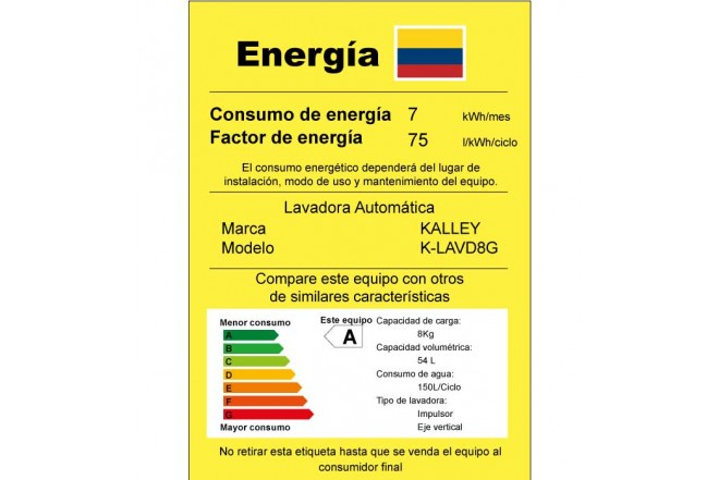 "Lavadora KALLEY 8Kg KYLAVD8G""GSC"