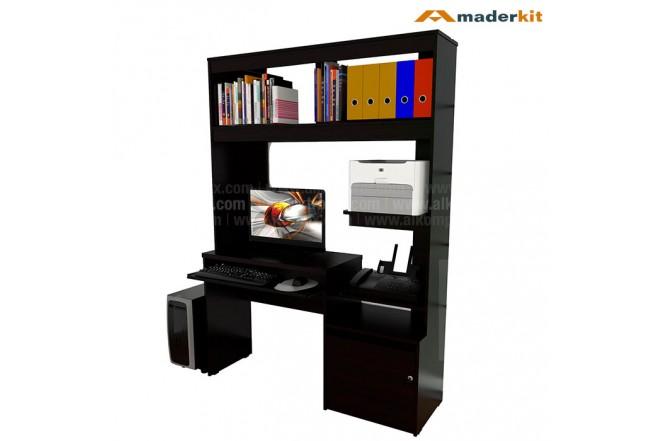 Centro de Computo MADERKIT con Biblioteca y archivador Wengue