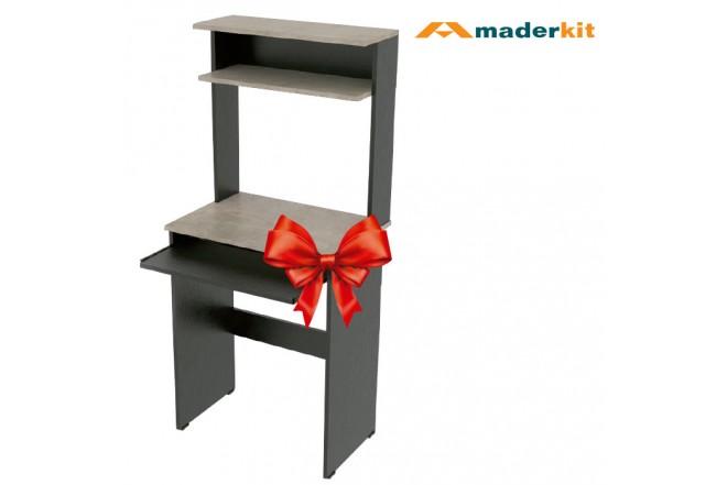 Centro de Computo MADERKIT Black Negro-Cemento
