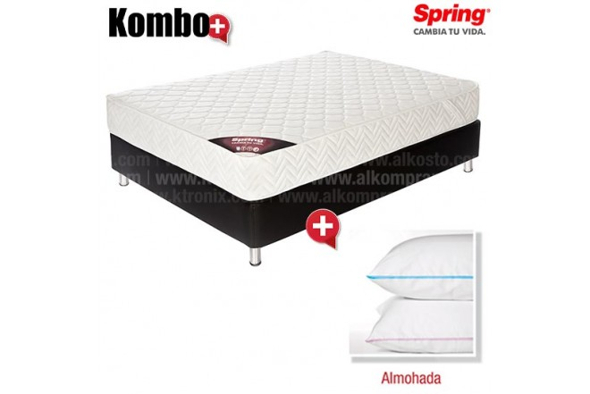 KOMBO: Colchón de Resorte SPRING Emotion New One 1 Doble GRATIS 2 Almohadas