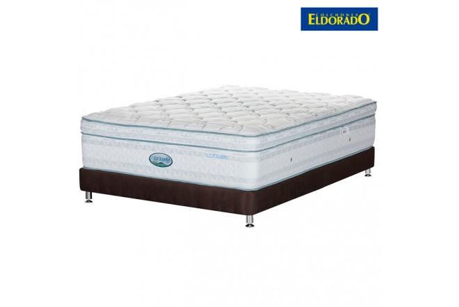 KOMBO ELDORADO: Colchón Coolmax Doble + Base cama Chocolate