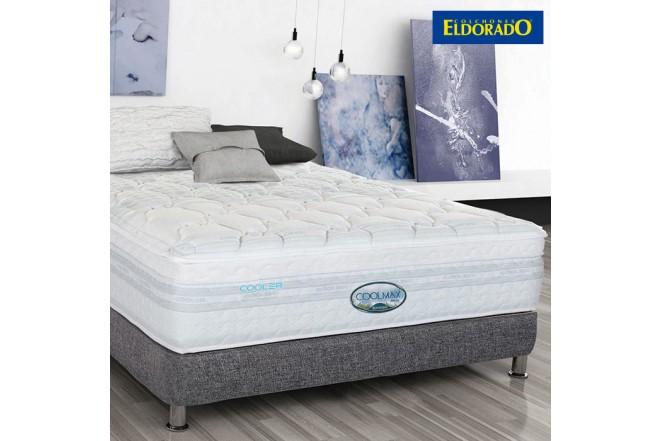 KOMBO ELDORADO: Colchón Coolmax Extradoble + Base cama Negro