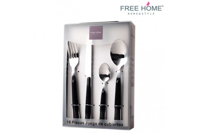 Juego de Cubiertos FREE HOME 24 Piezas Negro-7
