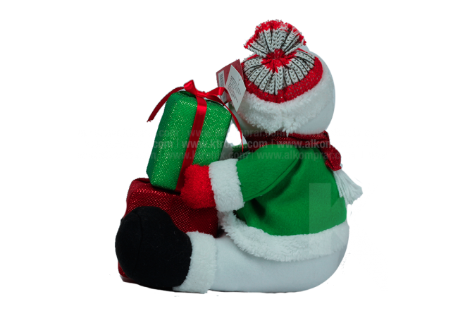 "Decoración Navideña Hombre De Nieve Sentado Con Regalo 12"""