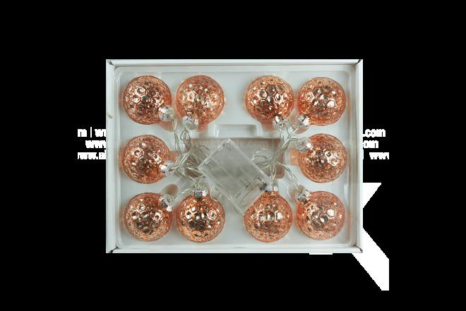 Guirnalda De Luz Con Esfera 6 cm Dorada