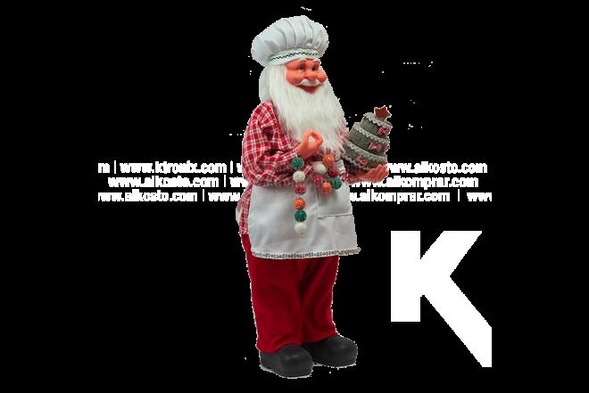 Decoración Navideña Santa Cocinero Con Torta 61 cm