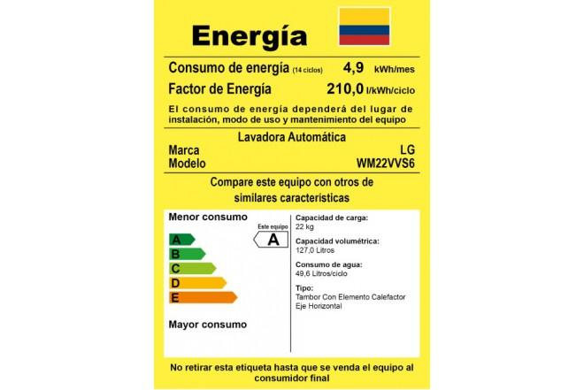 "Lavadora LG CF 22Kg WM22VVS6""S"