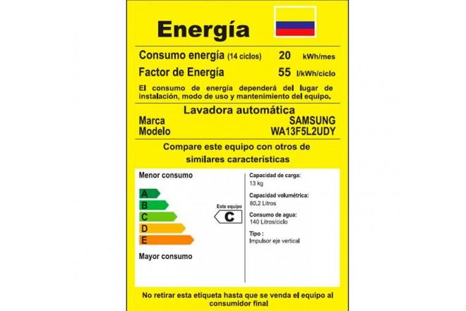 Lavadora SAMSUNG 13KG WA13F5L2UDY Gris