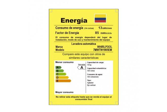 Lavadora WHIRLPOOL 18Kg 7MWTW1805EM Blanco