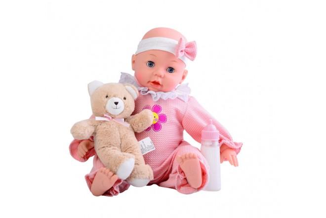 Muñeco bebé de 40.5cm con osito de peluche Gigo toys rosado