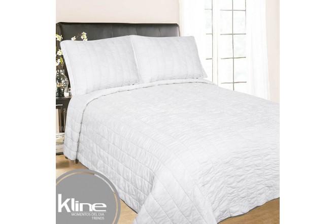 Cubrecama K-LINE King Blanco Cuadros Algodón 100%