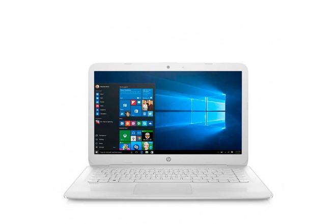 "Portátil HP AX005 14"" Celeron + Funda + Mouse + Audífonos - Blanco"