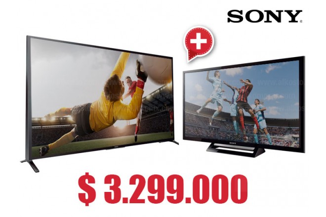 "Compra Tv 60"" 152.5 cm LED SONY 60W857 Internet 3D y  lleva gratis Tv 32"" 80 cm LED SONY 32R427B HD"