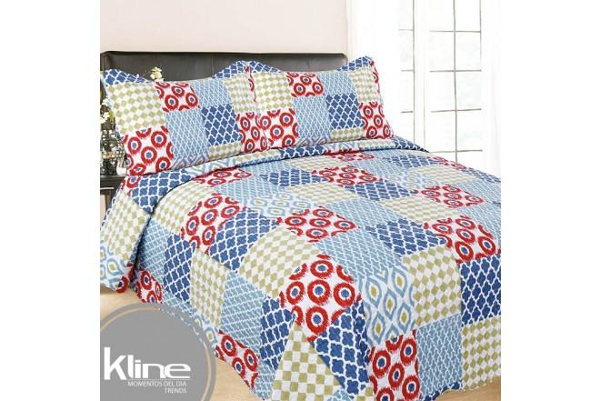 Cubrecama K-LINE Sencillo Cuadros Multicolor