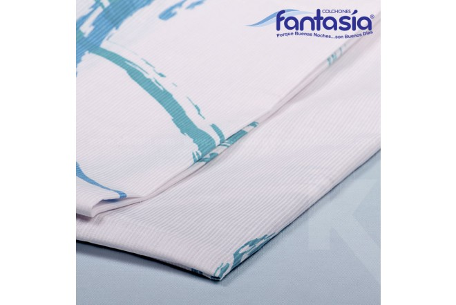 KOMBO FANTASÍA: Colchón Doble Blue Restek + Base cama + Kit de Lencería  140x190 cms
