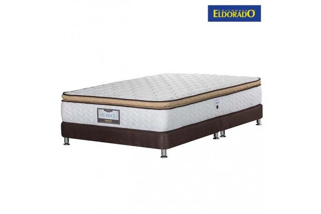 KOMBO ELDORADO: Colchón Doble Florence 140x190 cms Resortado + Base Cama Dividida Nova Chocolate
