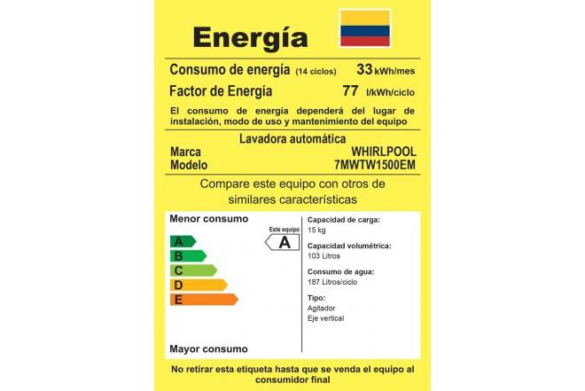 Lavadora WHIRLPOOL 15Kg 7MWTW1500EM Blanco