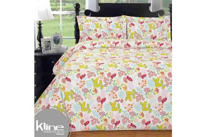 Edredón K-LINE King Hojas Verdes 144 Hilos Algodón 100%