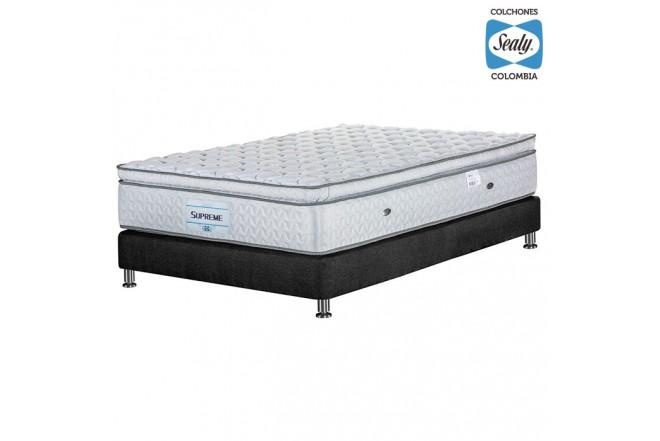 KOMBO SEALY: Colchón Semidoble Supreme Firm 120x190x32 cm + Base cama Duken Negra