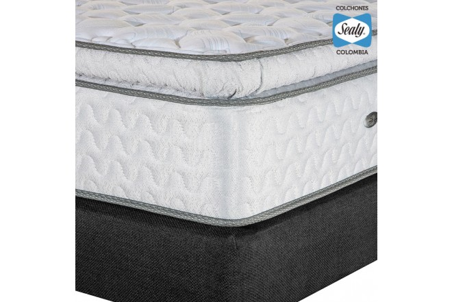 KOMBO SEALY: Colchón Doble Supreme Firm 140x190x32 cm + Base cama Duken Negra