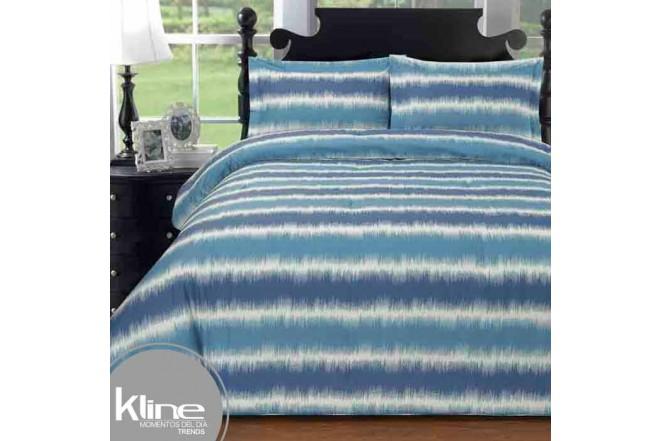 Edredón K-LINE Queen Líneas Azules 144 Hilos Algodón 100%