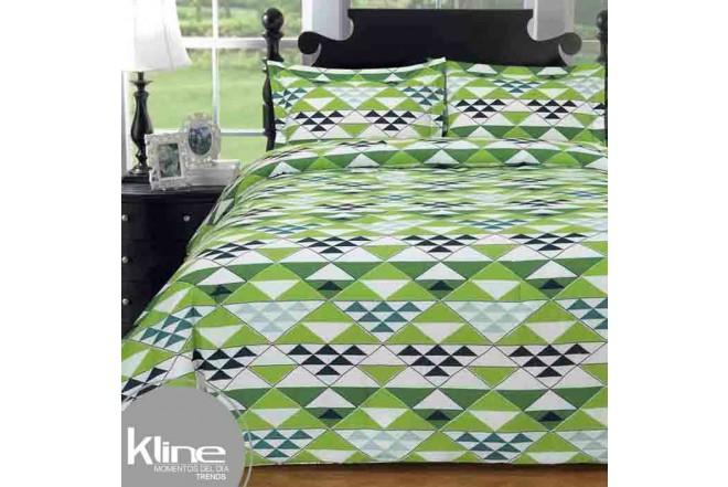 Edredón K-LINE King Triangulos Verdes 144 Hilos Algodón 100%