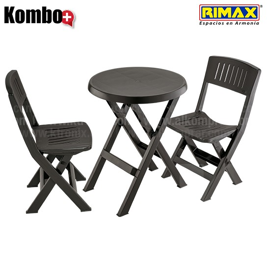 Kombo plegable rimax 1 mesa redonda 2 sillas alkosto for Mesa plegable 4 sillas