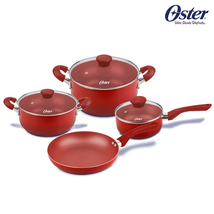 Juego de ollas oster 7 piezas color rojo os 20000 alkosto - Ollas de cocina ...