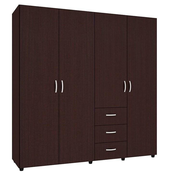 Armario 180 cm practimac sof a 4 puertas 3 cajones wengue for Puertas y armarios