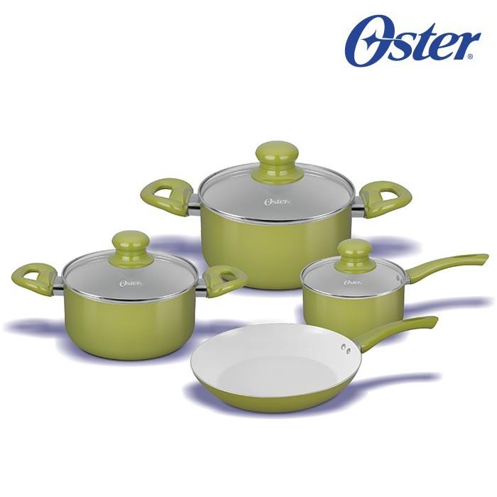 Bateria 7 piezas oster interior antiadherente de cer mica for Ceramica italia para cocina