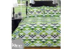 Edredón K-LINE Doble Triangulos Verdes 144 Hilos Algodón 100%
