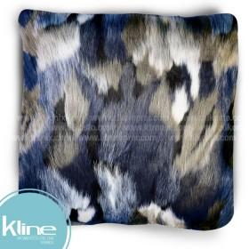 Cojín K-LINE Peludo Azul, Kaki y blanco 50x50 cm