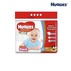 Pañales HUGGIES Natural Care Niño M x 120 Und.